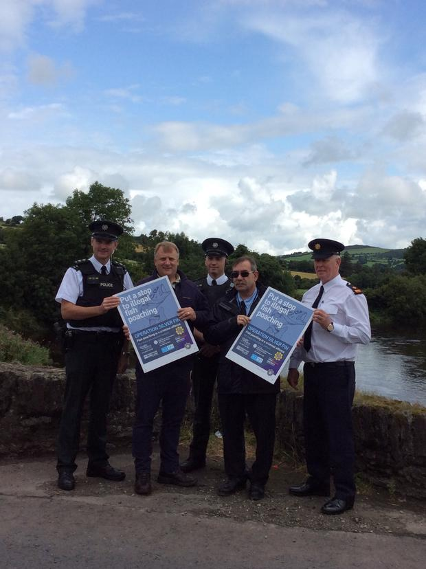 (L-R) PSNI Insp. Marty Mullan, Lionel Knobbs (area fisheries inspector, Loughs Agency), PSNI Sgt. James McLaughlin, John McCartney (Director of Conservation and Protection, Loughs Agency) and An Garda Siochana Supt. Martin Walker.