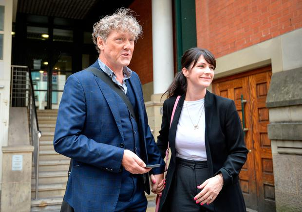 Emmerdale actor Mark Jordon, 54, and partner Laura Norton at Manchester Minshull Street Crown Court, where he has been found not guilty on all charges. The actor was accused of assault on a pensioner. Jacob King/PA Wire