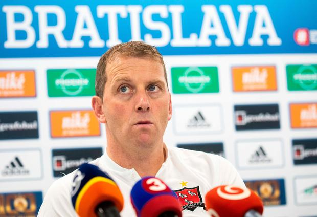 Dundalk's manager Vincent Perth during a press conference at Tehelné pole Stadium in Bratislava, Slovakia. Photo by Vid Ponikvar/Sportsfile