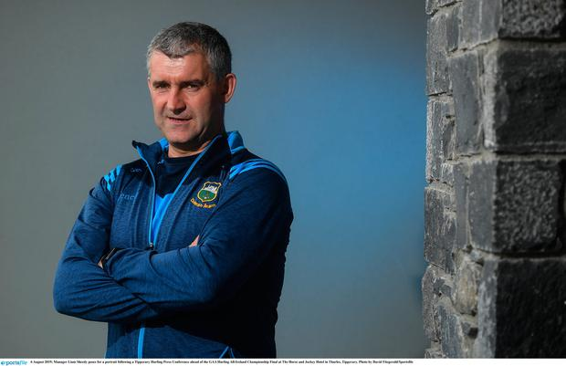 Liam Sheedy poses for a portrait following a Tipperary Hurling Press Conference ahead of the GAA Hurling All-Ireland Championship Final at The Horse and Jockey Hotel in Thurles, Tipperary. Photo by David Fitzgerald/Sportsfile