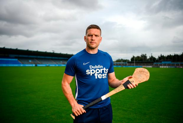 Conal Keaney at the launch of the #ThisIsMyDublin campaign promoting Dublin City Sportsfest 2019, a celebration of sport and physical activity from September 23-29. Inset: Celebrating after scoring the first goal in the 2016 All-Ireland semi-final against Mayo. Photo: Sportsfile