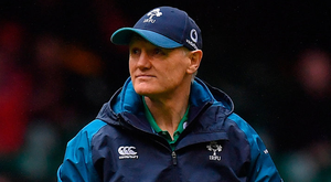 Joe Schmidt: Monitoring from afar. Photo: Brendan Moran/Sportsfile