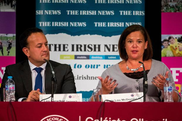 United front: Leo Varadkar heard sympathy and support from Mary Lou McDonald at Féile an Phobail last night. Photo: Liam McBurney/PA Wire