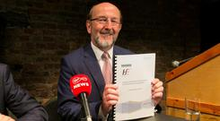 Professor Brian MacCraith during the publication of the MacCraith Report at The Smock Alley Theatre, Dublin. The independent rapid review by Professor Brian MacCraith examines the series of events within the Cervical Check Programme that occurred following reported IT issues in Quest Diagnostics relating to the HPV test results for a number of women. Photo: Gareth Chaney, Collins