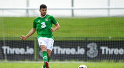 John Egan of Republic of Ireland during the Friendly match between Republic of Ireland and Republic of Ireland U21's at the FAI National Training Centre in Dublin. Photo by Harry Murphy/Sportsfile