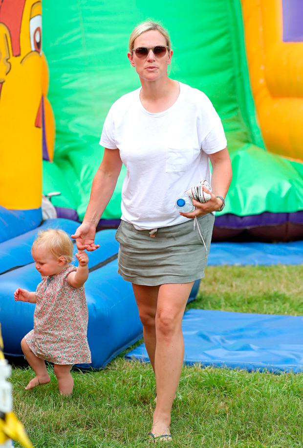 Zara Tindall with her baby daughter Lena during the Festival of British Eventing at Gatcombe Park, Gloucestershire