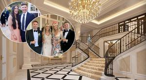 Adare Manor's staircase, centre, Ronan Palmer and wife Zoe, top inset left, Robbie and Claudine Keane and Pippa O'Connor and Brian Ormond, top inset right