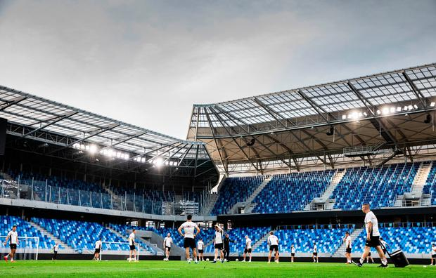 A genreal view during a Dundalk training session at Tehelné pole Stadium in Bratislava, Slovakia. Photo by Vid Ponikvar/Sportsfile