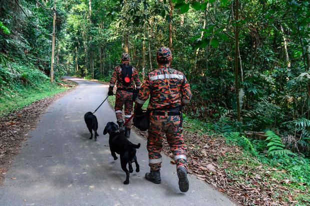 Members of the canine unit search for Nora. Photo: MOHD RASFAN/AFP/Getty Images