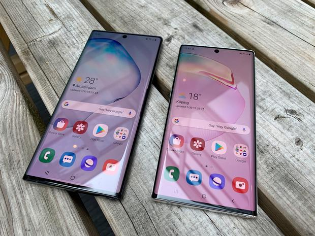 The Samsung Note 10+ (left) and Note 10 smartphone, which was unveiled at a live Samsung event in New York on Wednesday evening. Martyn Landi/PA Wire
