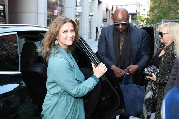 Norwegian princess Martha Louise and her boyfriend US shaman Durek Verrett arrive on May 16, 2019 to take part in the morning show