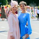 (L to R) Annemarie Blenner Hassett from Ranelagh & Ellen Wallace from Cork during the Dundrum Town Centre Ladies Day at the RDS, Dublin. Photo: Gareth Chaney/Collins