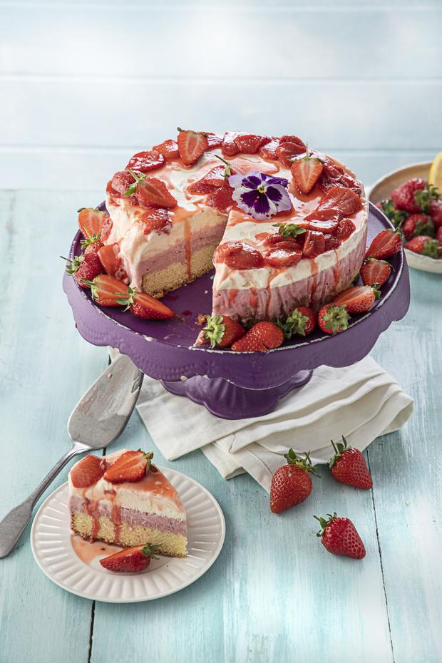 Lemon and strawberry ice cream cake with poached strawberries