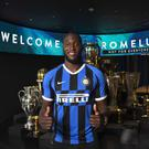 New FC Internazionale signing Romelu Lukaku poses for a photo in Milan, Italy. (Photo by Claudio Villa - Inter/Inter via Getty Images)
