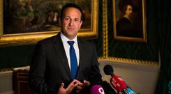 Focus: Taoiseach Leo Varadkar speaking to the media after touring Hillsborough Castle in Northern Ireland earlier this week. Photo: PA
