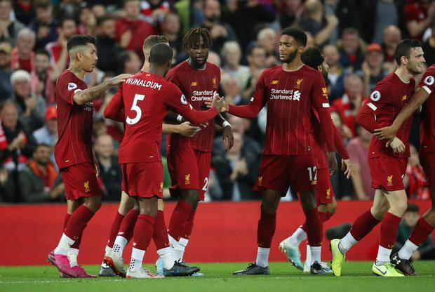 Liverpool's Divock Origi celebrates scoring their fourth goal with team-mates. Photo: Action Images via Reuters/Carl Recine