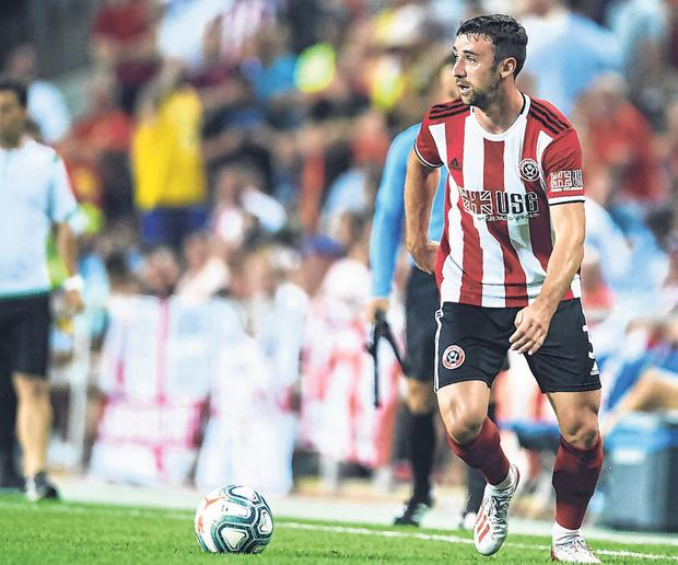 Enda Stevens in action for Sheffield United in a pre-season friendly against Real Betis and he will be part of a strong Irish contingent with the Blades this season. Photo: Getty