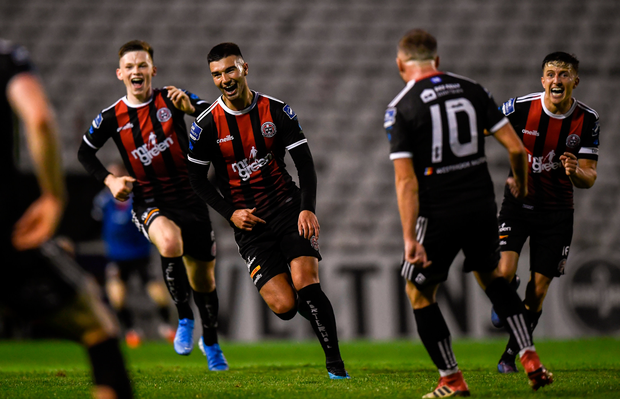 Danny Mandroiu of Bohemians celebrates after scoring his side's third goal during the FAI Cup first round win over Shelbourne at Dalymount Park in Dublin. Photo: Stephen McCarthy/Sportsfile