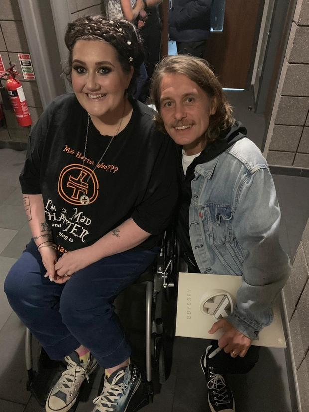 Making a mark: Late mum Tina meeting with Take That's Mark Owen when the group played here earlier in the year.