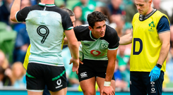 Joey Carbery of Ireland receives medical attention during the Guinness Summer Series 2019 match against Italy at the Aviva Stadium in Dublin. Photo: David Fitzgerald/Sportsfile