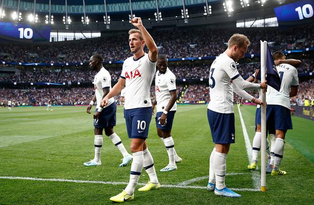 Harry Kane of Spurs celebrates his first goal. Photo: Getty