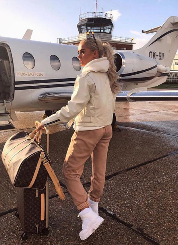 Molly Mae boarding a private jet to Longford