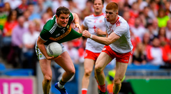 Tadhg Morley of Kerry in action against Cathal McShane of Tyrone in the All-Ireland SFC semi-final at Croke Park in Dublin. Photo: Piaras Ó Mídheach/Sportsfile