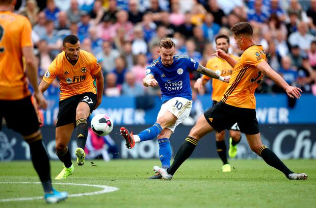 Leicester City's James Maddison (centre) has a shot on goal. Photo: Tim Goode/PA Wire
