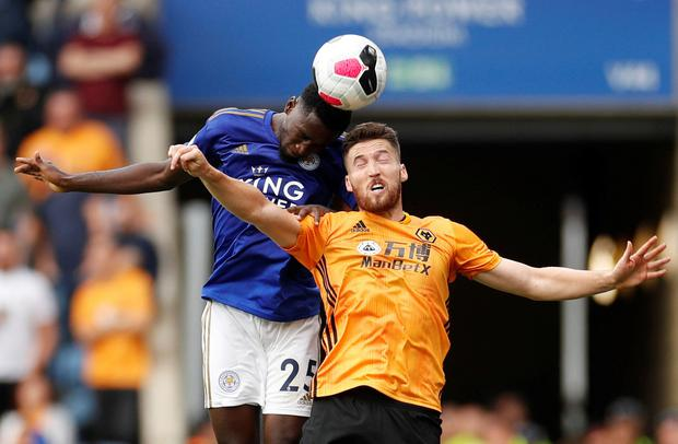 Wolverhampton Wanderers' Matt Doherty in action with Leicester City's Wilfred Ndidi. Photo: Reuters/John Sibley