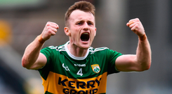 Kerry defender Tom O'Sullivan celebrates a job well done after the final whistle. Photo by Stephen McCarthy/Sportsfile