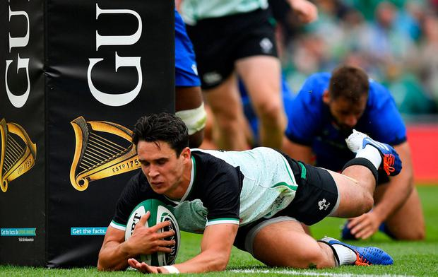 Out-half Joey Carbery goes over for Ireland's first try against Italy on Saturday. Photo: SPORTSFILE