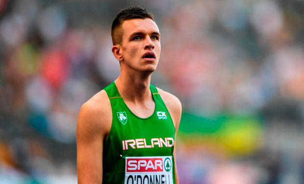 O'Donnell clocked a season's best of 46.70 to finish second to world U-20 champion Jonathan Sacoor of Belgium on Saturday, and in yesterday's relay he held off Sacoor to bring Ireland home in front in their section in 3:08.83. Photo: Sam Barnes/Sportsfile