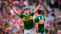 Kerry star rising: David Clifford celebrates scoring a late Kerry point alongside his team-mate Paul Geaney. Photo by Stephen McCarthy/Sportsfile