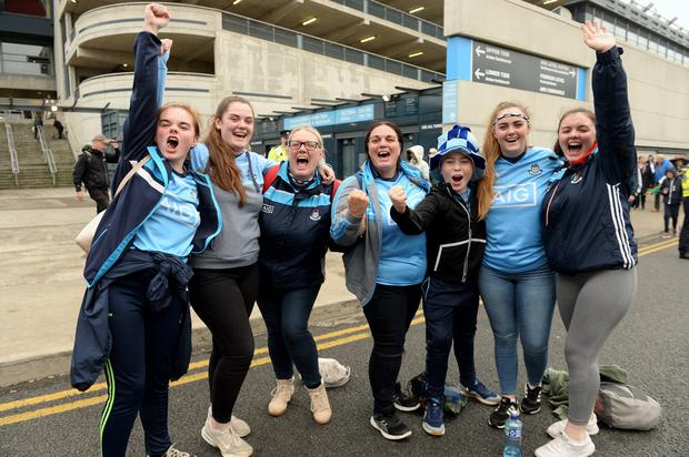 Angela Harford, from St Margaret's, Dublin (third from left), and her sister Sandra (right of Angela) with all their children after the match. Photo: Caroline Quinn