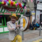 Beat on the street: Frank Godfrey on the bodhrán at the Fleadh in Drogheda yesterday