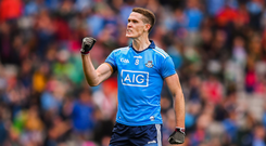 Brian Fenton of Dublin celebrates following the GAA Football All-Ireland Senior Championship Semi-Final match between Dublin and Mayo at Croke Park in Dublin. Photo by Stephen McCarthy/Sportsfile
