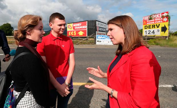 Visit: Liberal Democrat leader Jo Swinson with Doire Finn and Aron Hughes from the Our Future Our Choice group. Photo: Niall Carson/PA Wire