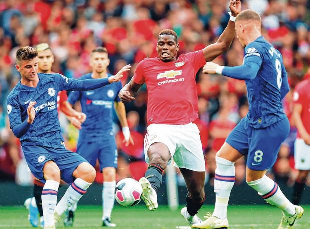 Year of the Pog?: Paul Pogba showed impressive commitment and skill during Manchester United's opening day victory against Chelsea. Photo: Julian Finney/Getty Images