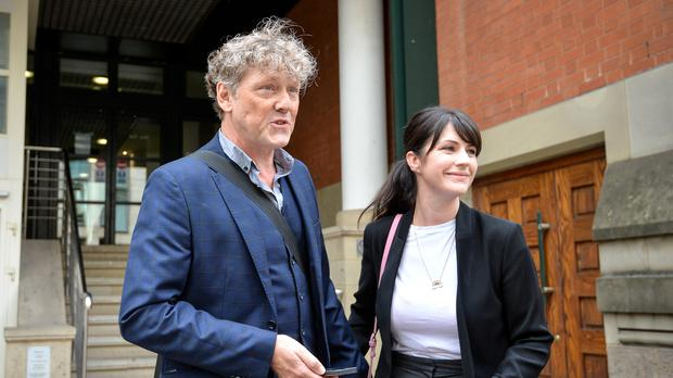 Emmerdale actor Mark Jordon, 54, and partner Laura Norton at Manchester Minshull Street Crown Court, where he was found not guilty on all charges (Jacob King/PA)