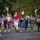 Ciara Orr, Isabel Bourke, Abbie Bennett, Sadhbh Berry, Jessie Wagenaar, Jessie Foley, Emily Dundon, Elle Madigan and Lydia Beattie pictured getting the leaving certificate results at Kilkenny college in Kilkenny. Picture Dylan Vaughan