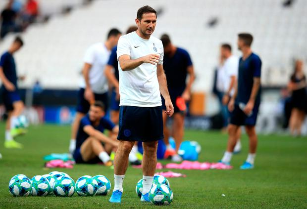 Chelsea's manager Frank Lampard during the training session at Besiktas Park, Istanbul. Tuesday August 13, 2019. Adam Davy/PA Wire