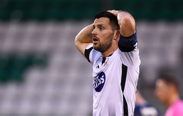 Patrick Hoban of Dundalk during the defeat to Slovan Bratislava. Photo by Stephen McCarthy/Sportsfile