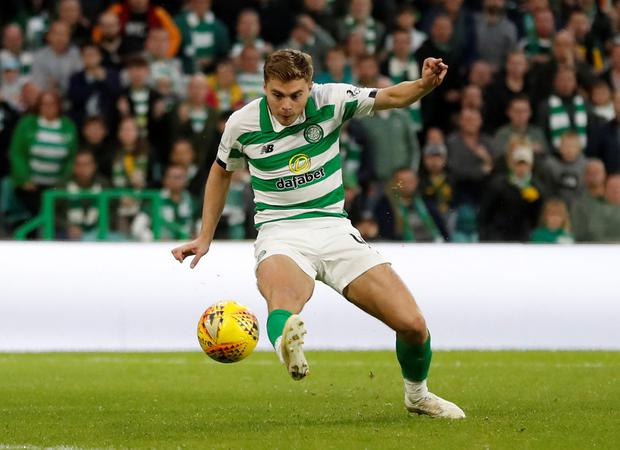 Celtic's James Forrest scores their first goal. Photo Reuters/Russell Cheyne