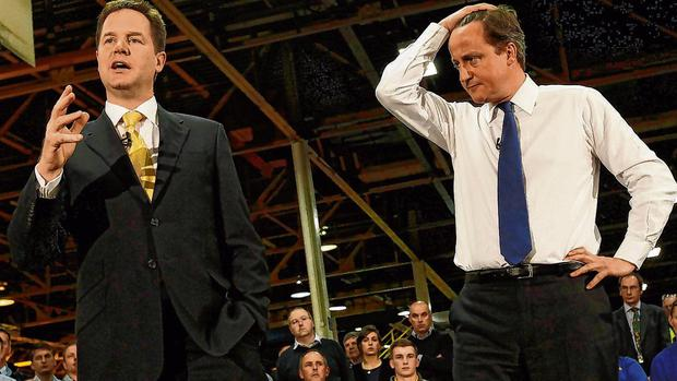 View: Nick Clegg (left), deputy to former UK PM David Cameron, said 'the Brexit genie was out of the box, with end of the union now more likely than not'. Photo: Suzanne Plunkett/Reuters
