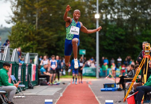 Luvo Manyonga competing in the Men's Long Jump event. Photo: Sam Barnes/Sportsfile