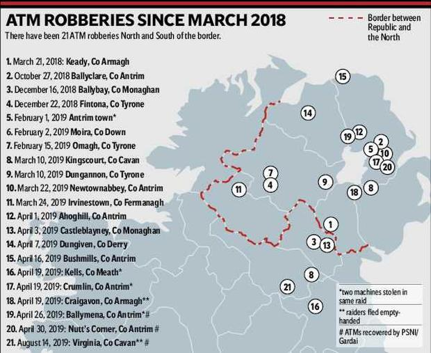 ATM robberies since March 2018