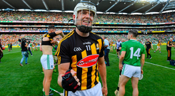 Top Cats: Kilkenny's TJ Reid (pictured) holds his own amongst Cats legends Henry Shefflin, DJ Carey and Eddie Keher. Photo: Ramsey Cardy/Sportsfile