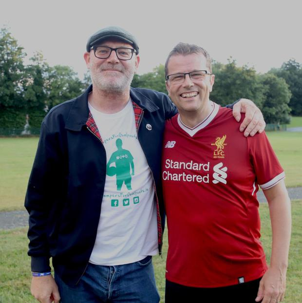 Keith Kelly of Jumpers For Goalposts is pictured with author Paul Howard at a recent kick about in Ballybrack