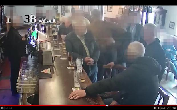 A screen grab from the video footage that appears to show UFC star Conor McGregor punching a man in a Dublin pub.
