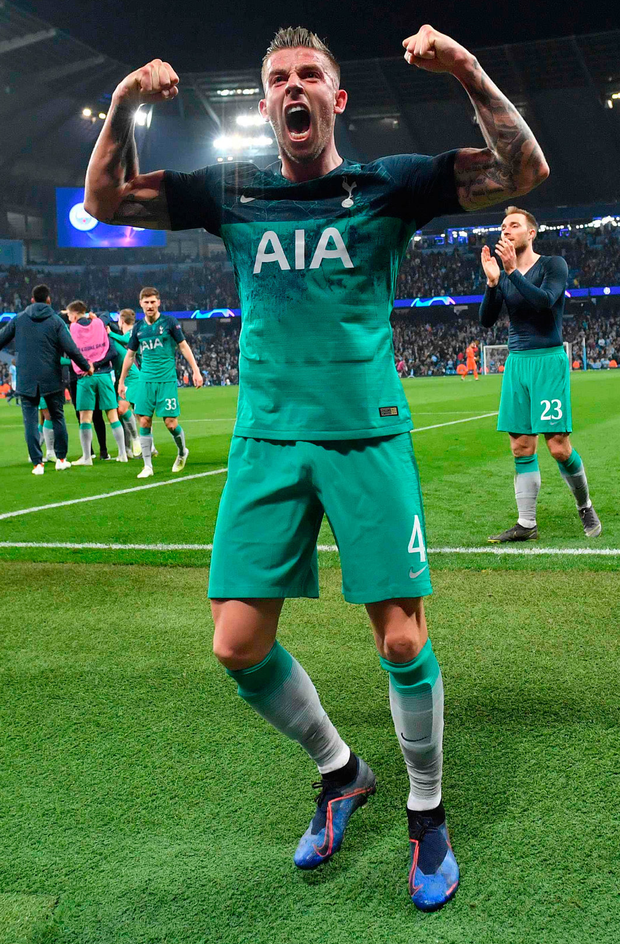 Defender Toby Alderweireld celebrates the Spurs win over City in Europe last season but in the league it has been a different matter